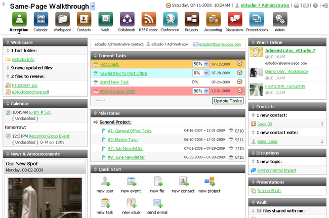 Virtual office software provides a central location for file, events, contacts, tasks and more.